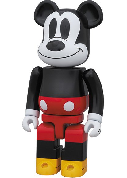 Mickey Mouse Be@rbrick 200% figure by Disney, produced by Medicom Toy X Bandai. Side view.
