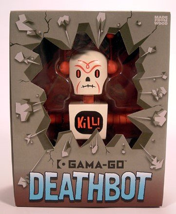 Gama-Go Deathbot  figure by Tim Biskup, produced by Ningyoushi. Packaging.