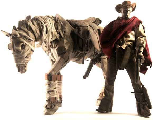 Ghost-Horse and Blind Cowboy Super Set figure by Ashley Wood, produced by Threea. Front view.