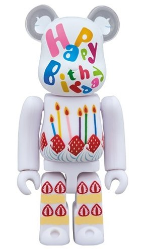 Greeting Birthday 2 PLUS BE@RBRICK 100% figure, produced by Medicom Toy. Front view.