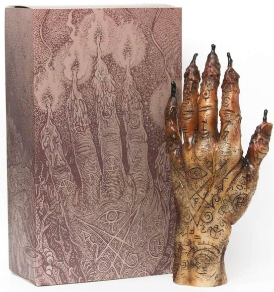 HAND OF GLORY figure by Florian Bertmer, produced by Unbox Industries. Packaging.