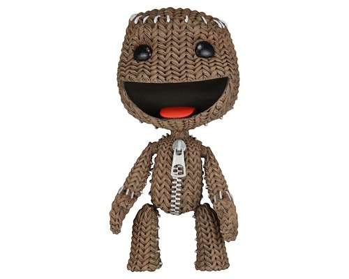 Happy Sackboy figure by Mark Healey And Dave Smith, produced by Neca. Front view.