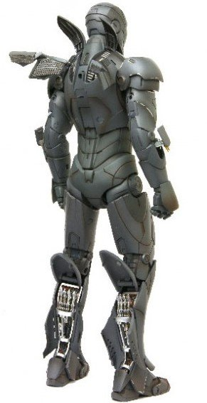 Iron Man Mark III 'TK' Edition figure by Marvel, produced by Hot Toys. Back view.