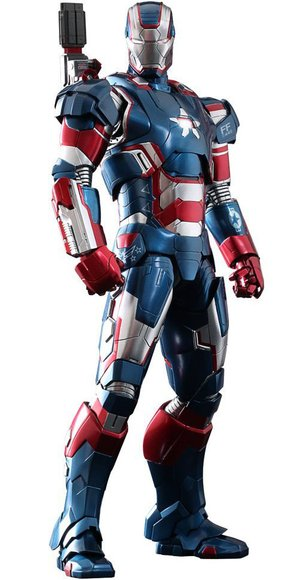 Iron Patriot figure, produced by Hot Toys. Front view.