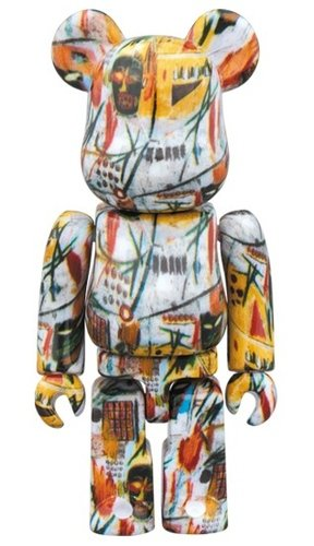 JEAN-MICHEL BASQUIAT BE@RBRICK 100% figure, produced by Medicom Toy. Front view.