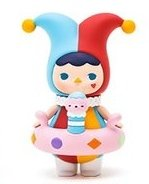 Jester Baby figure by Pucky, produced by Pop Mart. Front view.
