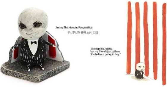Jimmy, The Hideous Penguin Boy figure by Tim Burton, produced by Dark Horse. Front view.