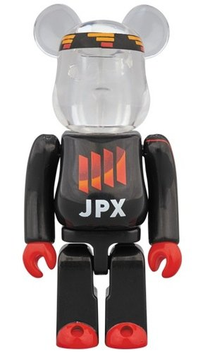 JPX BLACK BE@RBRICK 100% figure, produced by Medicom Toy. Front view.