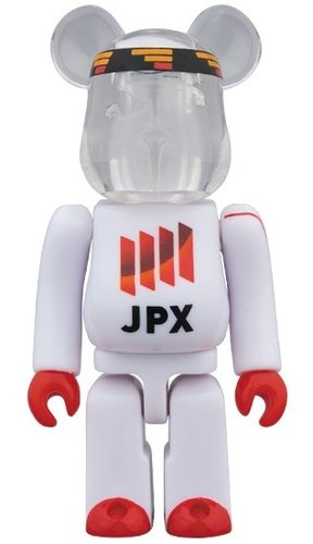 JPX WHITE 140th BE@RBRICK 100% figure, produced by Medicom Toy. Front view.