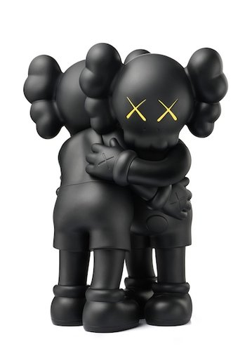 KAWS Together Black figure by Kaws, produced by Medicom Toy. Front view.