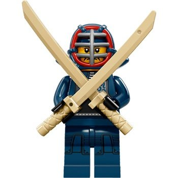 Kendo Fighter figure by Lego, produced by Lego. Front view.