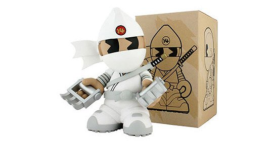 Kidrobot Mascot 14 - Shiro Kidninja figure by Huck Gee, produced by Kidrobot. Packaging.