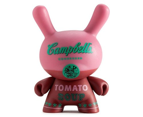 Kidrobot x Andy Warhol Campbells Red figure by Andy Warhol, produced by Kidrobot. Front view.