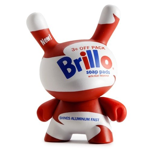 Kidrobot x Andy Warhol White Brillo figure by Andy Warhol, produced by Kidrobot. Front view.