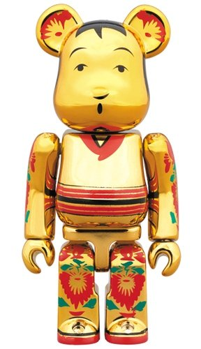 Kokeburikku Gold plate BE@RBRICK 100% figure, produced by Medicom Toy. Front view.
