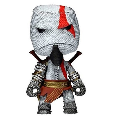 Kratos Sackboy figure by Mark Healey And Dave Smith, produced by Neca. Front view.