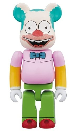 krusty the clown BE@RBRICK 100% figure, produced by Medicom Toy. Front view.