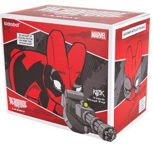 Deadpool Labbit figure by Marvel, produced by Kidrobot. Packaging.