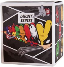 Anti-Venom Labbit figure by Marvel, produced by Kidrobot. Packaging.