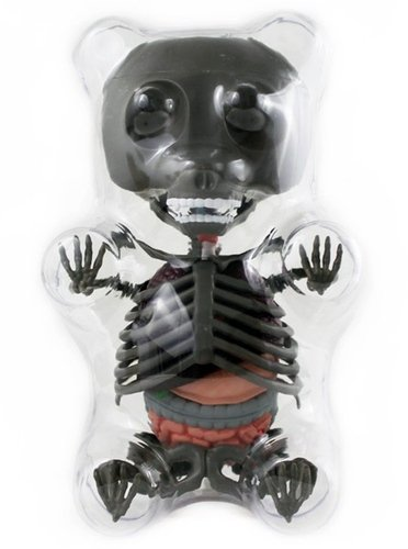 Limited Edition Anatomy Gummi Bear (Grey) figure by Jason Freeny, produced by Famemaster. Front view.