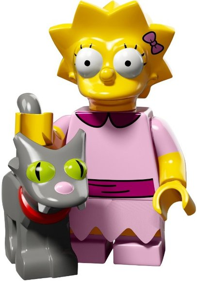 Lisa Simpson with Snowball II figure by Matt Groening, produced by Lego. Front view.