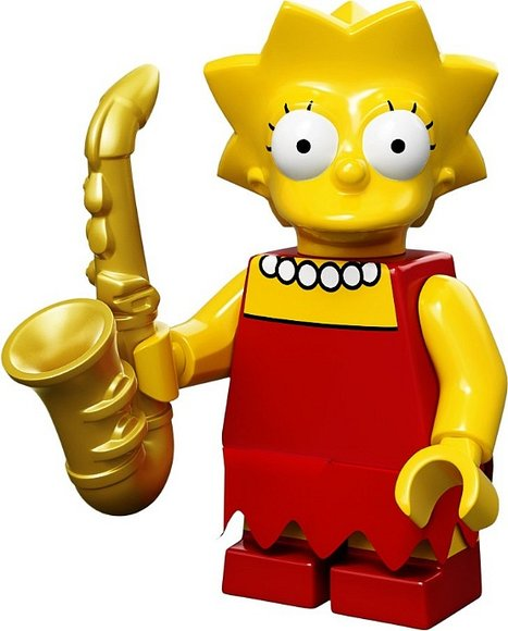 Lisa Simpson figure by Matt Groening, produced by Lego. Front view.