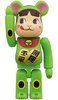 Lucky Cat - Peco-chan Fluorescent green BE@RBRICK 100%