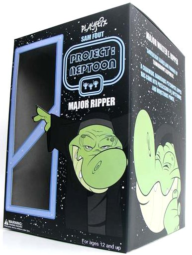 Major Ripper figure by Sam Fout, produced by Play Imaginative. Packaging.