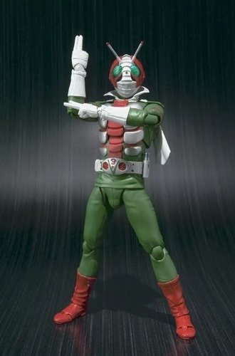 Masked Rider V3 figure, produced by Bandai. Front view.