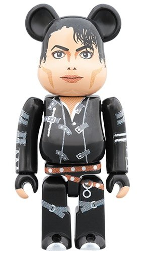 "Michael Jackson ""BAD"" BE@RBRICK 100% figure, produced by Medicom Toy. Front view."