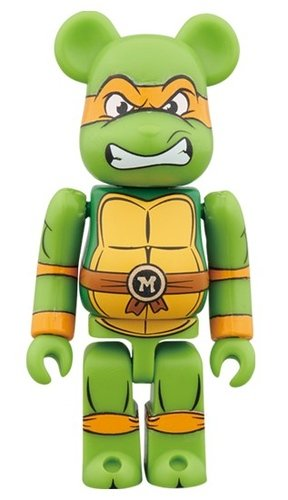 MICHELANGELO BE@RBRICK 100% figure, produced by Medicom Toy. Front view.