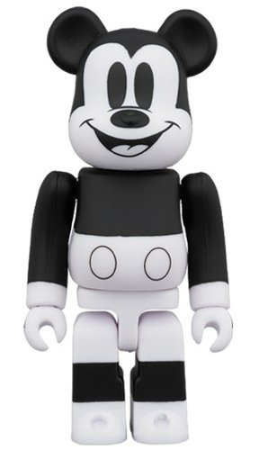 MICKEY MOUSE (B&W 2020 Ver.) BE@RBRICK 100% figure, produced by Medicom Toy. Front view.
