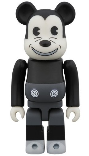 MICKEY MOUSE (VINTAGE B&W Ver.) BE@RBRICK 100% figure, produced by Medicom Toy. Front view.