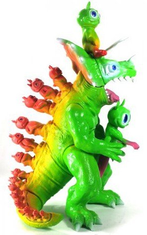 Modzilla - Rainbow figure by Ron English, produced by Toy Art Gallery. Side view.