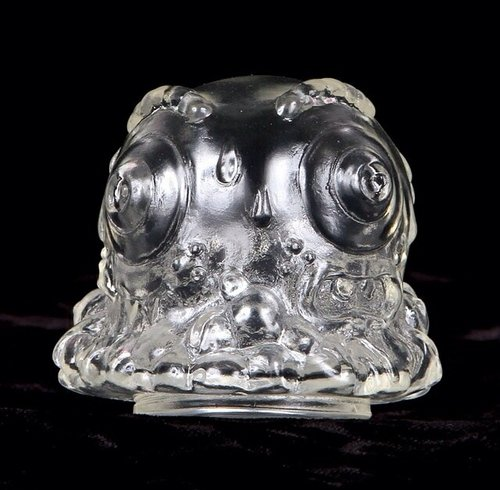 Mr Melty Two Faced Head - Clear figure by Buff Monster. Front view.