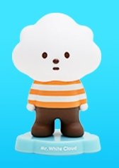 Mr. White Cloud figure by Fluffy House, produced by Fluffy House. Front view.