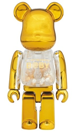 MY FIRST GOLD & SILVER BE@RBRICK 100 % figure, produced by Medicom Toy. Front view.