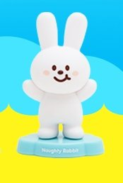 Naughty Rabbit figure by Fluffy House, produced by Fluffy House. Front view.