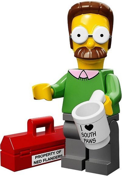 Ned Flanders figure by Matt Groening, produced by Lego. Front view.
