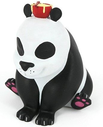 Noodles - the Dim Sum Panda - red bowl edition figure by Sarah Isabel Tan (The Real Firestarter), produced by Mighty Jaxx. Front view.