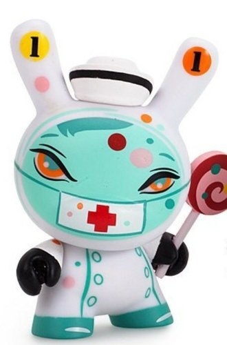 Nurse Casket figure by Brandt Peters, produced by Kidrobot. Front view.