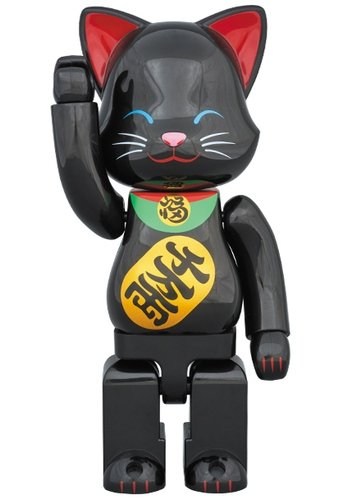 NY@BRICK 招き猫 黒 figure, produced by Medicom Toy. Front view.