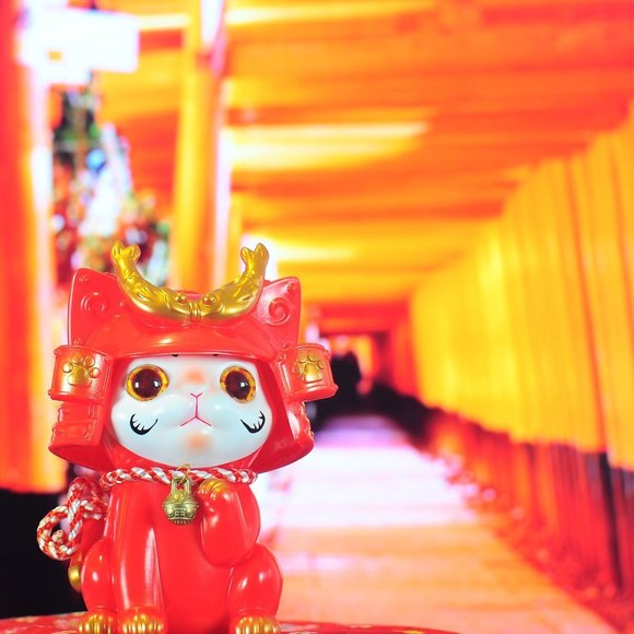 Ohonneko: Dharma Edition figure by Katherine Kang, produced by K2Toy. Detail view.