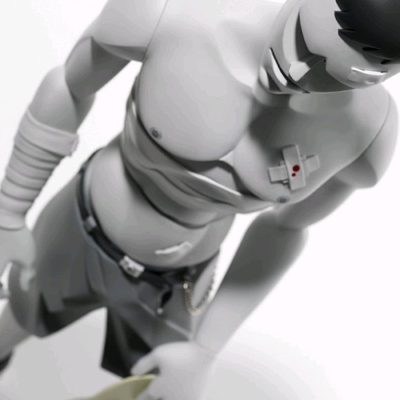 Pain 1:3 figure by Mark Landwehr, produced by Coarsetoys. Detail view.