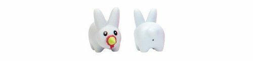Personal Happiness Happy Labbit figure by Frank Kozik, produced by Kid Robot. Front view.
