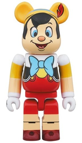 PINOCCHIO BE@RBRICK 100% figure, produced by Medicom Toy. Front view.