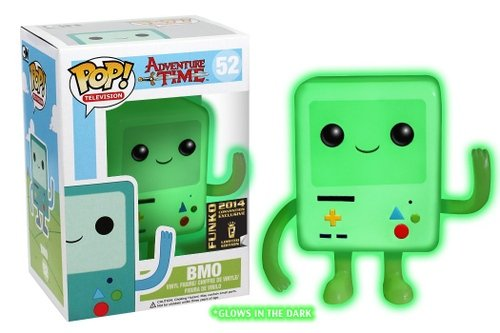 POP! Adventure Time - White GID BMO, SDCC Exclusive figure, produced by Funko. Front view.