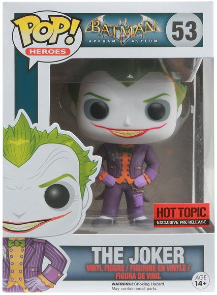 POP! Arkham Asylum - The Joker figure by Dc Comics, produced by Funko. Packaging.