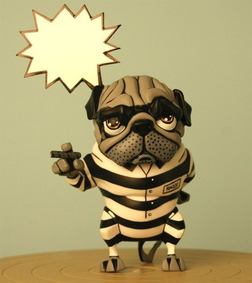 Pugzee - Jailbreaker figure by Dave Cortes, produced by Inu Art. Front view.