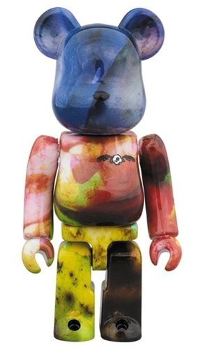 PUSHEAD 3 different colors BE@RBRICK 100% figure, produced by Medicom Toy. Front view.